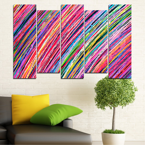 Canvas prints & wall decorative panels - 5 pieces №0066 » Red, Pink, Blue, Black, Milky pink » Abstraction, Colorful, Lines Form #3