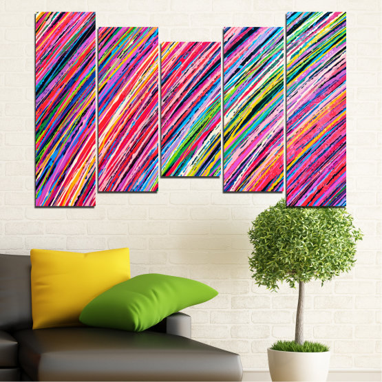 Canvas prints & wall decorative panels - 5 pieces №0066 » Red, Pink, Blue, Black, Milky pink » Abstraction, Colorful, Lines Form #4