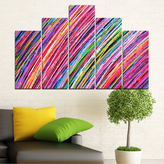 Canvas prints & wall decorative panels - 5 pieces №0066 » Red, Pink, Blue, Black, Milky pink » Abstraction, Colorful, Lines Form #5