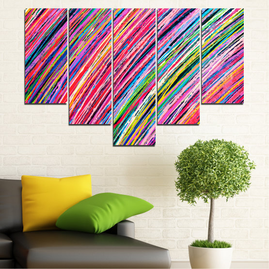 Canvas prints & wall decorative panels - 5 pieces №0066 » Red, Pink, Blue, Black, Milky pink » Abstraction, Colorful, Lines Form #6