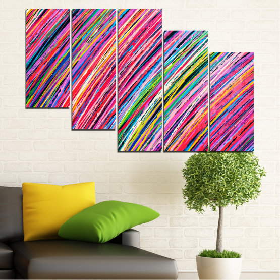 Canvas prints & wall decorative panels - 5 pieces №0066 » Red, Pink, Blue, Black, Milky pink » Abstraction, Colorful, Lines Form #7