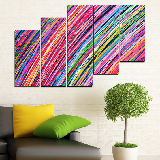 Canvas prints & wall decorative panels - 5 pieces №0066 » Red, Pink, Blue, Black, Milky pink » Abstraction, Colorful, Lines Form #8