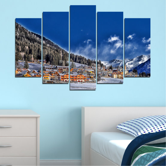 Canvas prints & wall decorative panels - 5 pieces №0660 » Blue, Black, Gray, Dark grey » Forest, Mountain, House, Snow, Winter Form #1