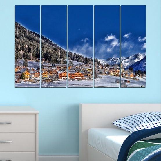 Canvas prints & wall decorative panels - 5 pieces №0660 » Blue, Black, Gray, Dark grey » Forest, Mountain, House, Snow, Winter Form #2