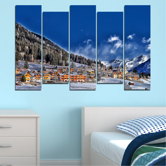Canvas prints & wall decorative panels - 5 pieces №0660 » Blue, Black, Gray, Dark grey » Forest, Mountain, House, Snow, Winter Form #3