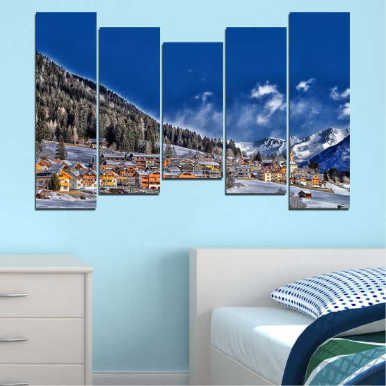 Canvas prints & wall decorative panels - 5 pieces №0660 » Blue, Black, Gray, Dark grey » Forest, Mountain, House, Snow, Winter Form #4