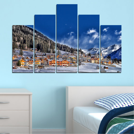 Canvas prints & wall decorative panels - 5 pieces №0660 » Blue, Black, Gray, Dark grey » Forest, Mountain, House, Snow, Winter Form #5