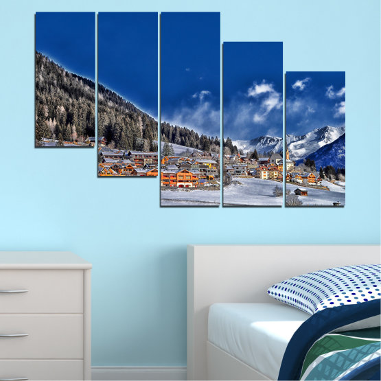 Canvas prints & wall decorative panels - 5 pieces №0660 » Blue, Black, Gray, Dark grey » Forest, Mountain, House, Snow, Winter Form #7