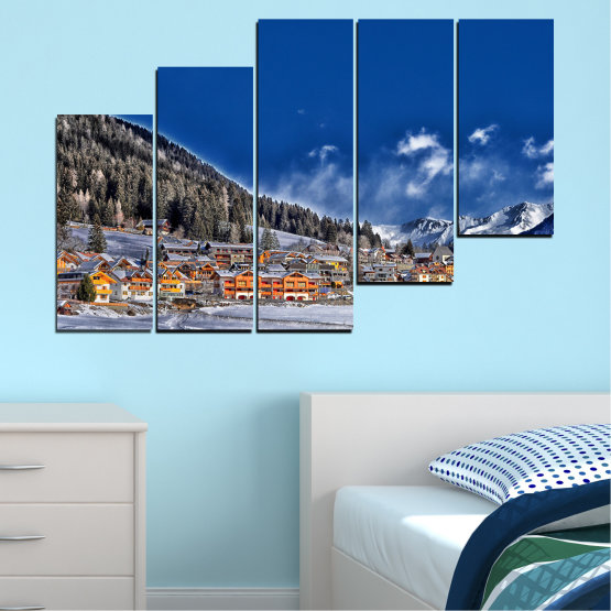 Canvas prints & wall decorative panels - 5 pieces №0660 » Blue, Black, Gray, Dark grey » Forest, Mountain, House, Snow, Winter Form #8