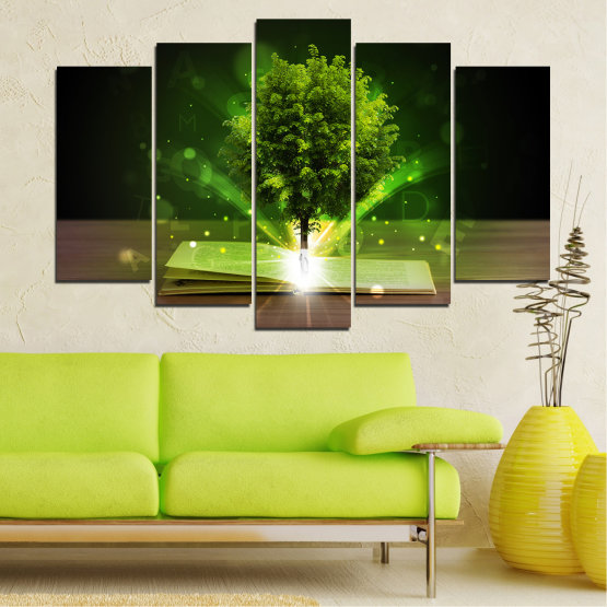 Canvas prints & wall decorative panels - 5 pieces №0661 » Green, Brown, Black, Dark grey » Collage, Tree, Book Form #1