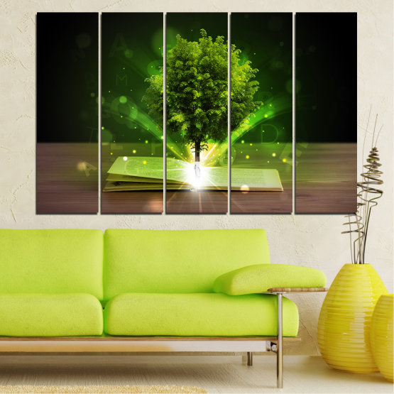 Canvas prints & wall decorative panels - 5 pieces №0661 » Green, Brown, Black, Dark grey » Collage, Tree, Book Form #2