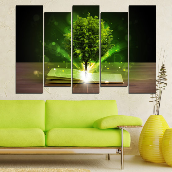 Canvas prints & wall decorative panels - 5 pieces №0661 » Green, Brown, Black, Dark grey » Collage, Tree, Book Form #3