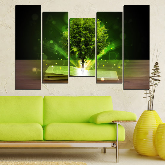 Canvas prints & wall decorative panels - 5 pieces №0661 » Green, Brown, Black, Dark grey » Collage, Tree, Book Form #4