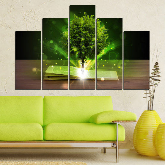 Canvas prints & wall decorative panels - 5 pieces №0661 » Green, Brown, Black, Dark grey » Collage, Tree, Book Form #5