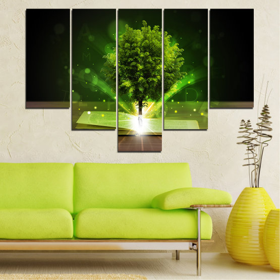 Canvas prints & wall decorative panels - 5 pieces №0661 » Green, Brown, Black, Dark grey » Collage, Tree, Book Form #6