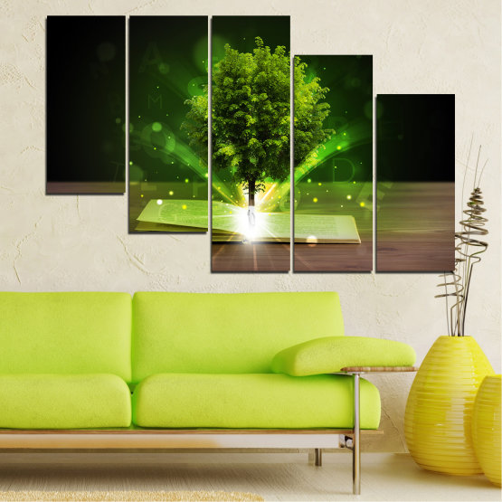 Canvas prints & wall decorative panels - 5 pieces №0661 » Green, Brown, Black, Dark grey » Collage, Tree, Book Form #7