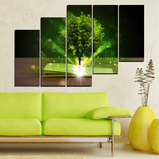 Canvas prints & wall decorative panels - 5 pieces №0661 » Green, Brown, Black, Dark grey » Collage, Tree, Book Form #8
