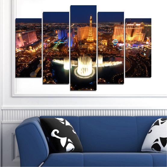 Декоративни панели и картини от канава - от 5 части №0662 » Оранжев, Кафяв, Черен, Тъмно сив » Град, Лас вегас, Нощ, Сащ Form #1