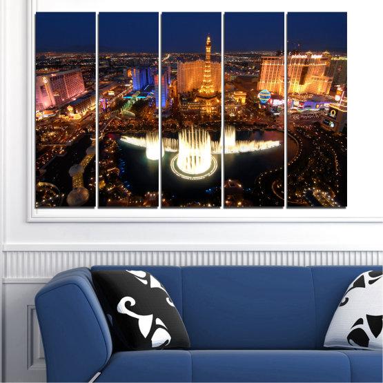 Декоративни панели и картини от канава - от 5 части №0662 » Оранжев, Кафяв, Черен, Тъмно сив » Град, Лас вегас, Нощ, Сащ Form #2