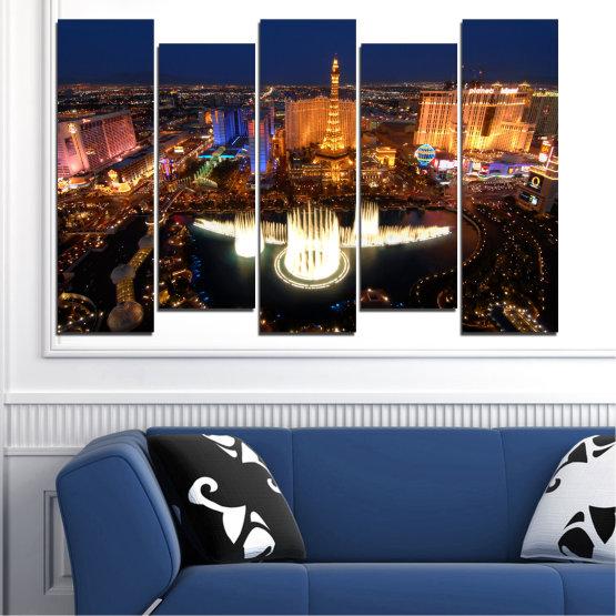 Декоративни панели и картини от канава - от 5 части №0662 » Оранжев, Кафяв, Черен, Тъмно сив » Град, Лас вегас, Нощ, Сащ Form #3