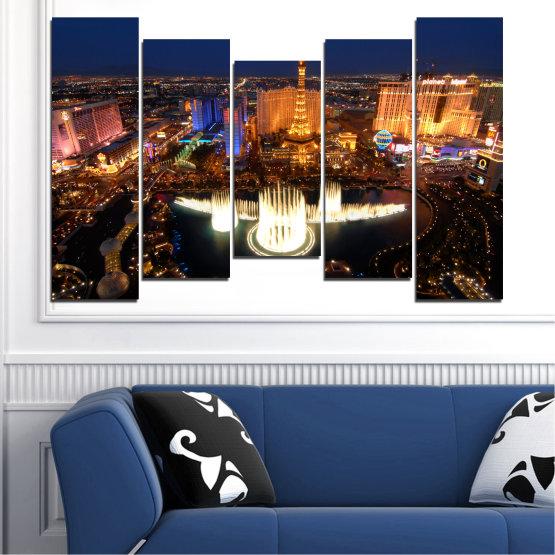 Декоративни панели и картини от канава - от 5 части №0662 » Оранжев, Кафяв, Черен, Тъмно сив » Град, Лас вегас, Нощ, Сащ Form #4