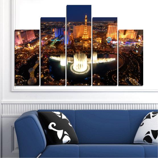 Декоративни панели и картини от канава - от 5 части №0662 » Оранжев, Кафяв, Черен, Тъмно сив » Град, Лас вегас, Нощ, Сащ Form #5