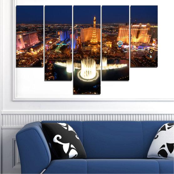 Декоративни панели и картини от канава - от 5 части №0662 » Оранжев, Кафяв, Черен, Тъмно сив » Град, Лас вегас, Нощ, Сащ Form #6
