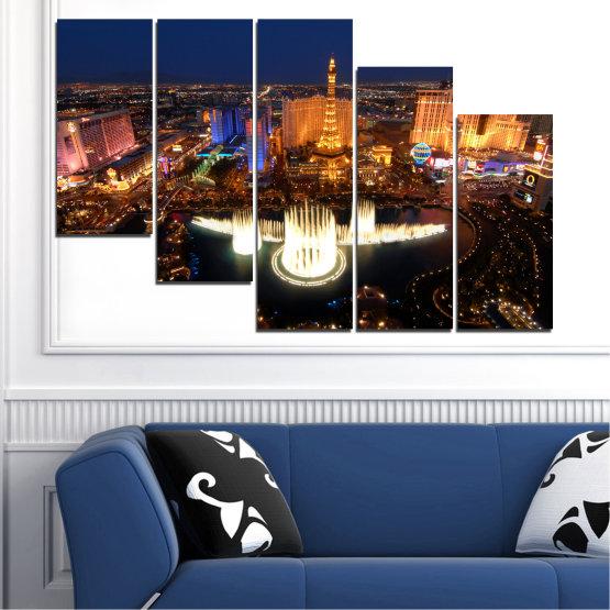 Декоративни панели и картини от канава - от 5 части №0662 » Оранжев, Кафяв, Черен, Тъмно сив » Град, Лас вегас, Нощ, Сащ Form #7