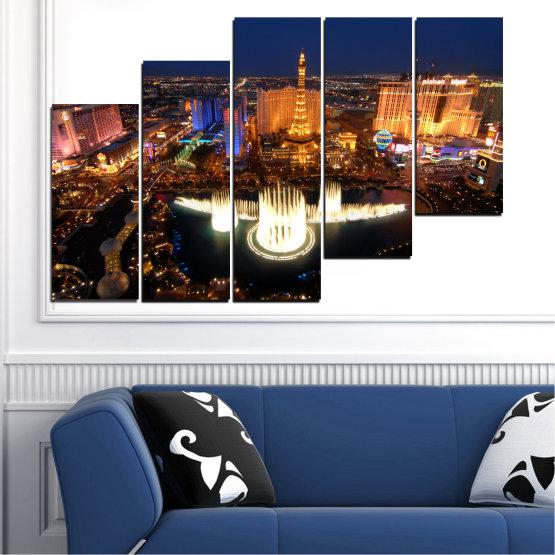Декоративни панели и картини от канава - от 5 части №0662 » Оранжев, Кафяв, Черен, Тъмно сив » Град, Лас вегас, Нощ, Сащ Form #8