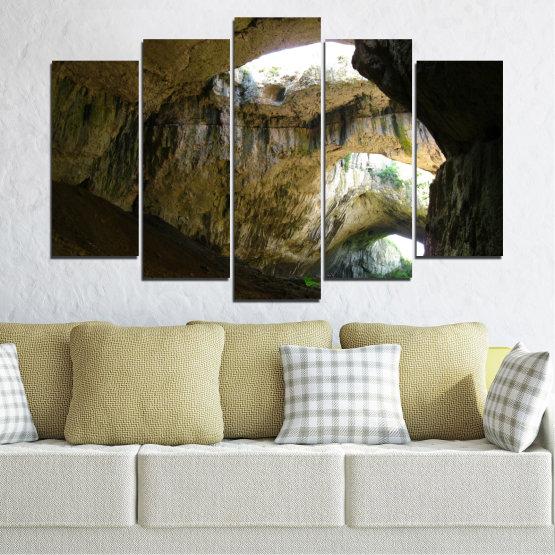 Декоративни панели и картини от канава - от 5 части №0663 » Кафяв, Черен, Сив, Тъмно сив » Деветашка пещера, България, Пещера Form #1