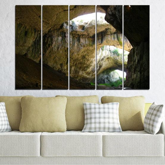 Декоративни панели и картини от канава - от 5 части №0663 » Кафяв, Черен, Сив, Тъмно сив » Деветашка пещера, България, Пещера Form #2