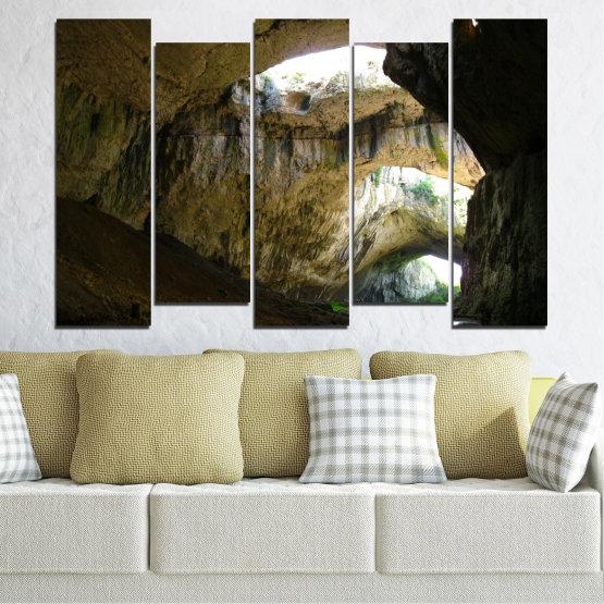 Декоративни панели и картини от канава - от 5 части №0663 » Кафяв, Черен, Сив, Тъмно сив » Деветашка пещера, България, Пещера Form #3