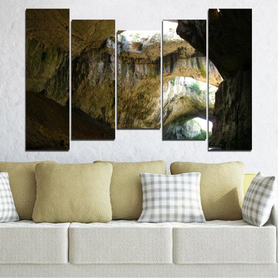 Декоративни панели и картини от канава - от 5 части №0663 » Кафяв, Черен, Сив, Тъмно сив » Деветашка пещера, България, Пещера Form #4