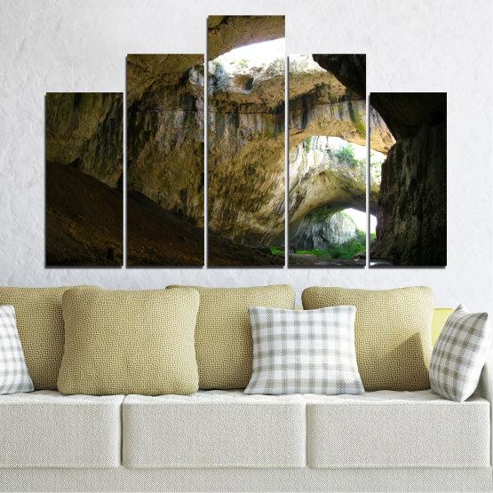Декоративни панели и картини от канава - от 5 части №0663 » Кафяв, Черен, Сив, Тъмно сив » Деветашка пещера, България, Пещера Form #5
