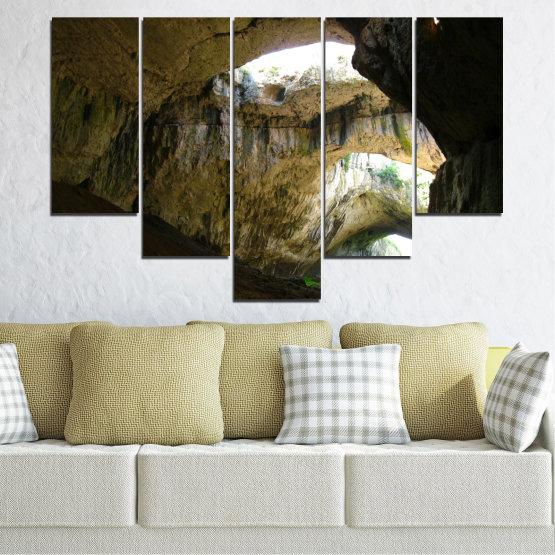 Декоративни панели и картини от канава - от 5 части №0663 » Кафяв, Черен, Сив, Тъмно сив » Деветашка пещера, България, Пещера Form #6