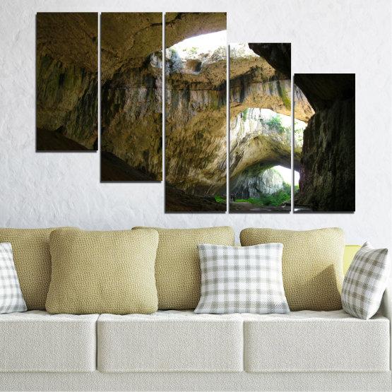 Декоративни панели и картини от канава - от 5 части №0663 » Кафяв, Черен, Сив, Тъмно сив » Деветашка пещера, България, Пещера Form #7