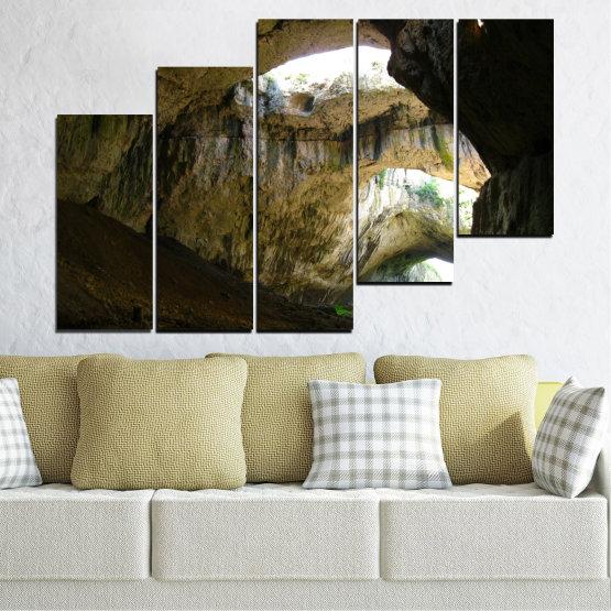 Декоративни панели и картини от канава - от 5 части №0663 » Кафяв, Черен, Сив, Тъмно сив » Деветашка пещера, България, Пещера Form #8
