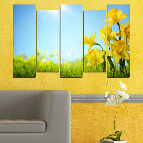 Canvas prints & wall decorative panels - 5 pieces №0665 » Turquoise, Green, Gray, White » Flowers, Nature, Sun, Narcissus Form #3