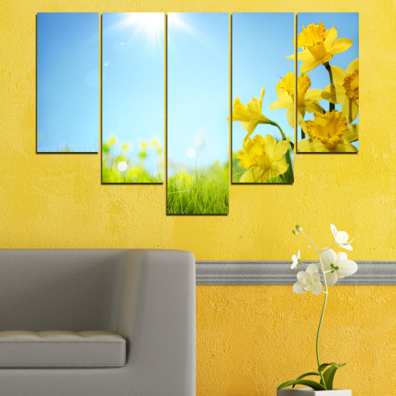 Canvas prints & wall decorative panels - 5 pieces №0665 » Turquoise, Green, Gray, White » Flowers, Nature, Sun, Narcissus Form #6