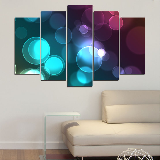 Canvas prints & wall decorative panels - 5 pieces №0666 » Blue, Turquoise, Brown, Dark grey » Abstraction, Shine, Colorful Form #1