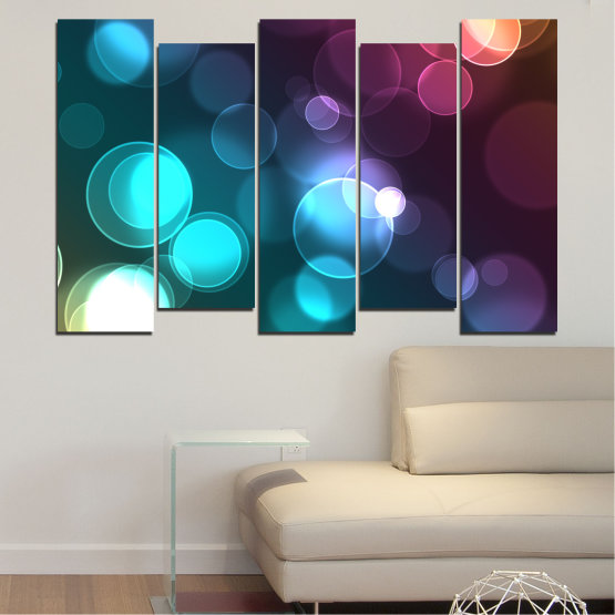 Canvas prints & wall decorative panels - 5 pieces №0666 » Blue, Turquoise, Brown, Dark grey » Abstraction, Shine, Colorful Form #3