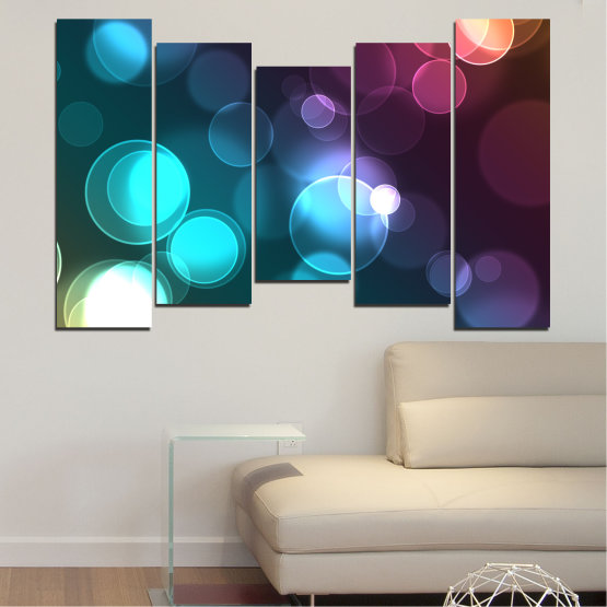 Canvas prints & wall decorative panels - 5 pieces №0666 » Blue, Turquoise, Brown, Dark grey » Abstraction, Shine, Colorful Form #4