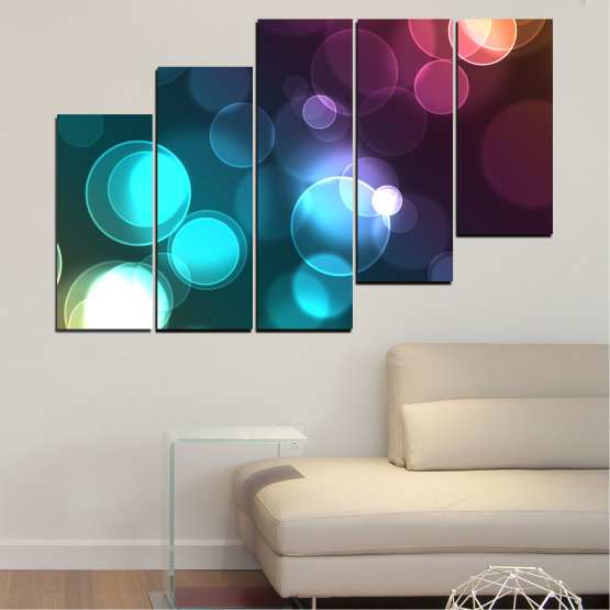 Canvas prints & wall decorative panels - 5 pieces №0666 » Blue, Turquoise, Brown, Dark grey » Abstraction, Shine, Colorful Form #8