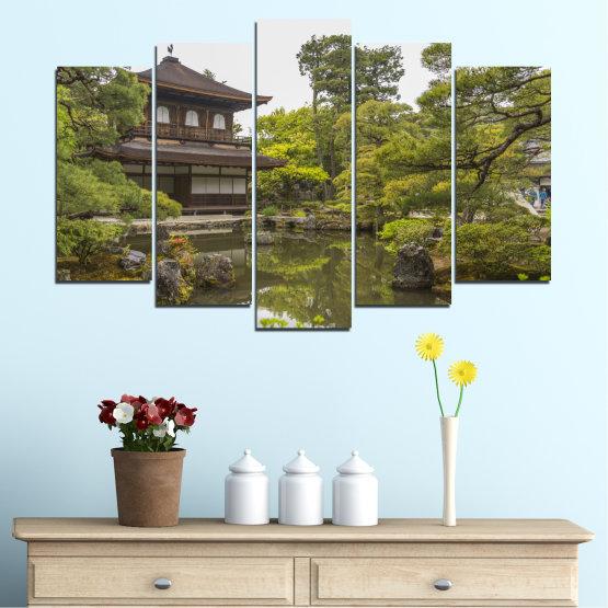 Декоративни панели и картини от канава - от 5 части №0667 » Зелен, Кафяв, Сив, Бял, Тъмно сив » Природа, Вода, Езеро, Къща, Китай Form #1