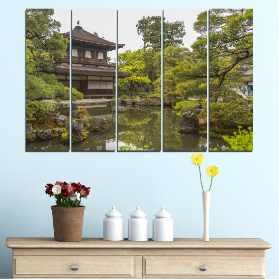 Декоративни панели и картини от канава - от 5 части №0667 » Зелен, Кафяв, Сив, Бял, Тъмно сив » Природа, Вода, Езеро, Къща, Китай Form #2