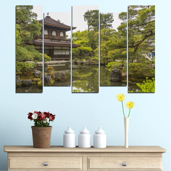 Canvas prints & wall decorative panels - 5 pieces №0667 » Green, Brown, Gray, White, Dark grey » Nature, Water, Lake, House, China Form #3