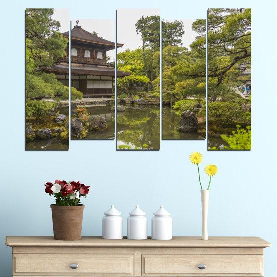 Декоративни панели и картини от канава - от 5 части №0667 » Зелен, Кафяв, Сив, Бял, Тъмно сив » Природа, Вода, Езеро, Къща, Китай Form #3