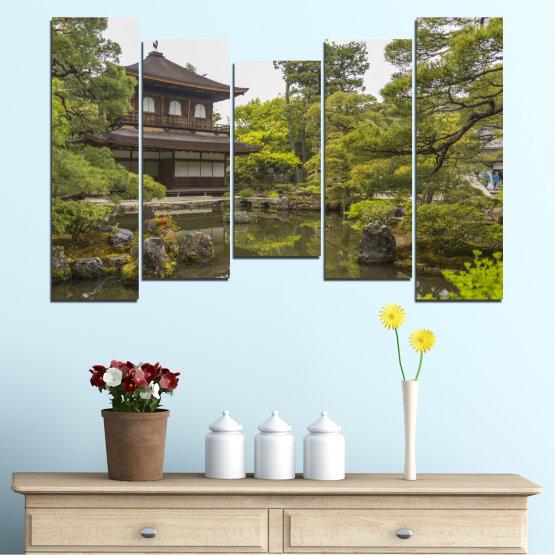 Декоративни панели и картини от канава - от 5 части №0667 » Зелен, Кафяв, Сив, Бял, Тъмно сив » Природа, Вода, Езеро, Къща, Китай Form #4