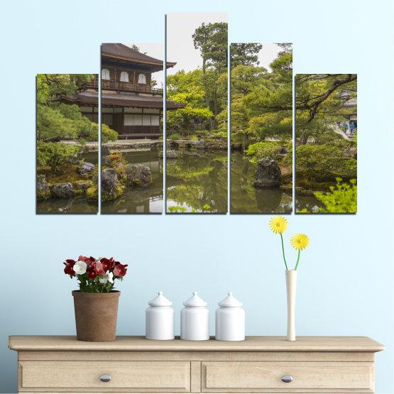 Декоративни панели и картини от канава - от 5 части №0667 » Зелен, Кафяв, Сив, Бял, Тъмно сив » Природа, Вода, Езеро, Къща, Китай Form #5
