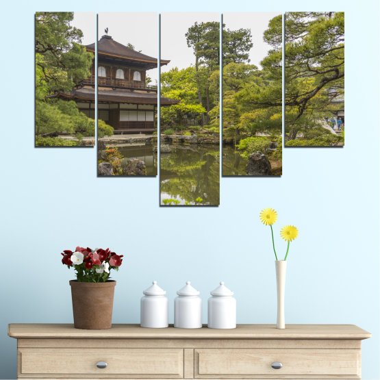 Canvas prints & wall decorative panels - 5 pieces №0667 » Green, Brown, Gray, White, Dark grey » Nature, Water, Lake, House, China Form #6